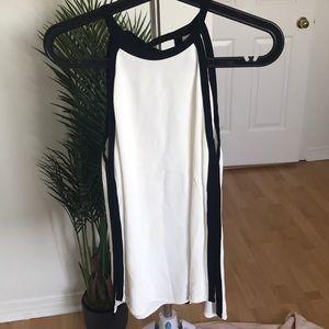 ZARA white and black sleeveless blouse size XS